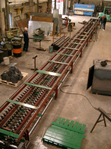 Large Slat Conveyor being Assemblied in Factory Prior to Delivery